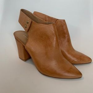 Chinese Laundry Brown Heel Booties Faux Leather